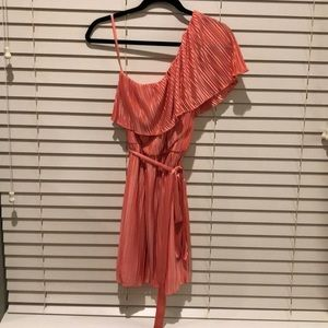 Coral pleated one shoulder knee length dress
